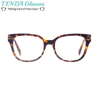 Mulheres Óculos Da Moda Óculos de Acetato de Armações de óculos de Aro  Cheio de Prescrição Praça Com Dobradiça de Mola Para Multifocal Lentes  Miopia 305765209c
