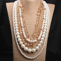 Bohemian Big Long Multi Layered Beaded Crystal Necklace Exaggerated Sweater Chain Beaded Strand Pearl Jewelry Women