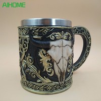 Personality Stainless Steel Coffee Mugs 3D Skull Mugs Cow Tankard Dragon Cups And Mugs Monster Goblet