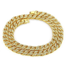 New Hip Hop Miami Cuban Chain Necklaces Iced Out Paved Rhinestones CZ Bling Rapper Necklace For Men Jewelry Dropshipping 20-75cm цена