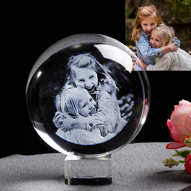 Glass Photo Ball Personalized Crystal Sphere Lase Engraving Customized Globe Home Decor Accessories Baby Photo Glass Sphere
