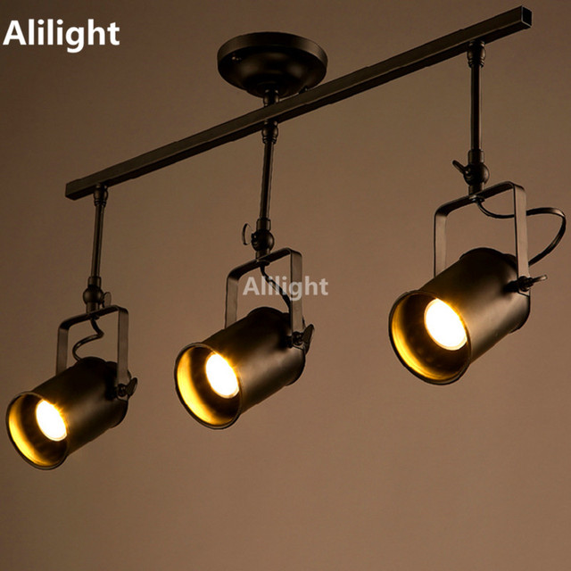 industrial track lighting fixtures pendant retro loft vintage led track light industrial lamp bar clothing personality rail three heads