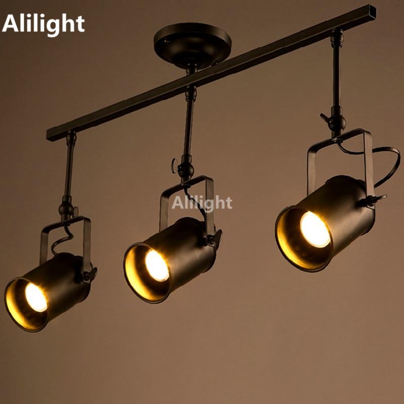 Retro Loft Vintage LED Track Light Industrial Track Lamp Bar Clothing  Personality Rail Light Three Heads