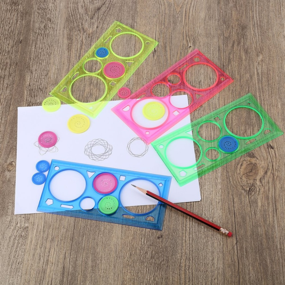 1PC Multifunctional Spirograph Geometric Ruler Drafting Tools Learning Drawing Tool Plastic Ruler School Stationery Supplies