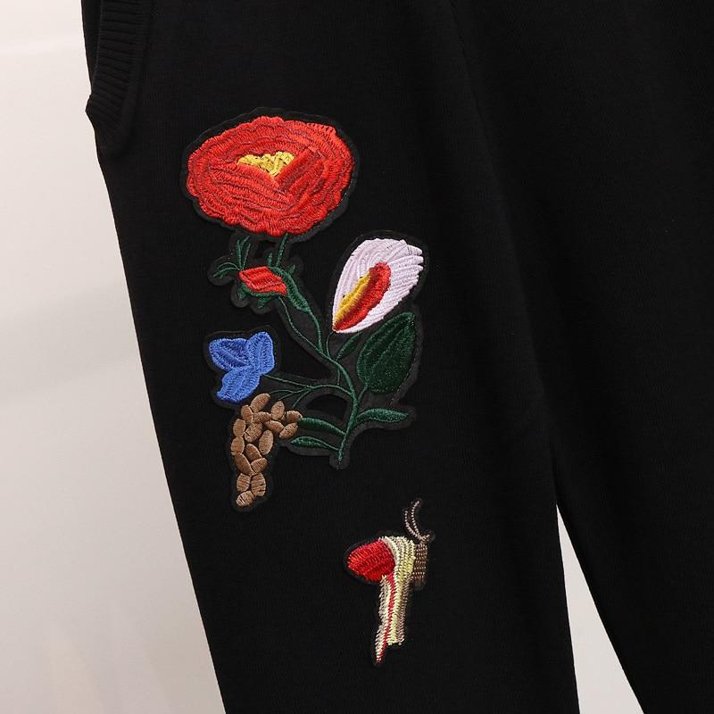 Survêtement Femmes Pantalon Manches Ensembles De Hiver Longues 2 Papillon Lâche Fleur Pull À Costumes Mode Black Broderie Tricoté Pièce EwHPq