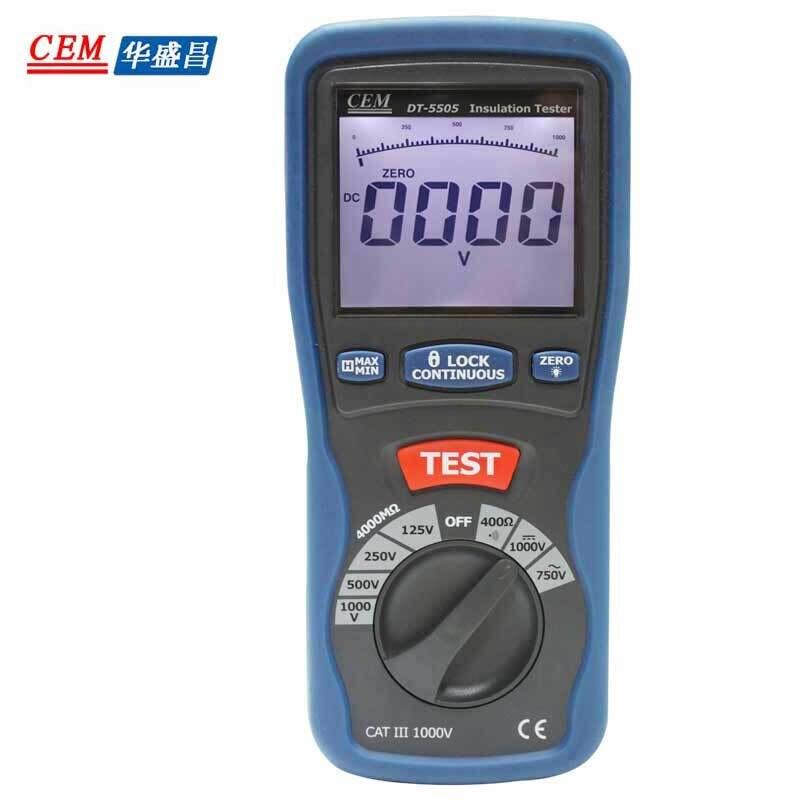 Freeshipping CEM DT-5505 Insulation Tester  Professional HD  Insulation Resistance Tester Meter Megohmmeter Voltmeter