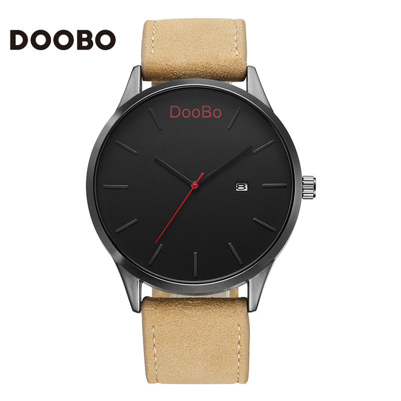 2016 DOOBO Fashion Casual Mens Watches Top Brand Luxury Leather Business Quartz Watch Men Wristwatch Relogio