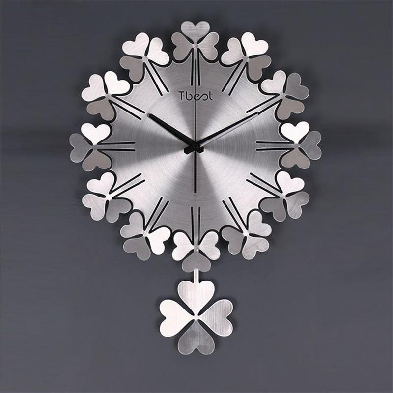 Creative Clover Wall Clock Modern Design Living Room Bedroom Mute Watch Home Decor Metal Digital Art Clocks In From