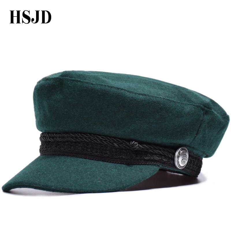 2018 Winter Marineblau Militär Kappe Einfarbig Wolle Baskenmütze Hut Für Frauen Männer Retro Taste Seil Zeitungsjunge Achteckige Caps Unisex