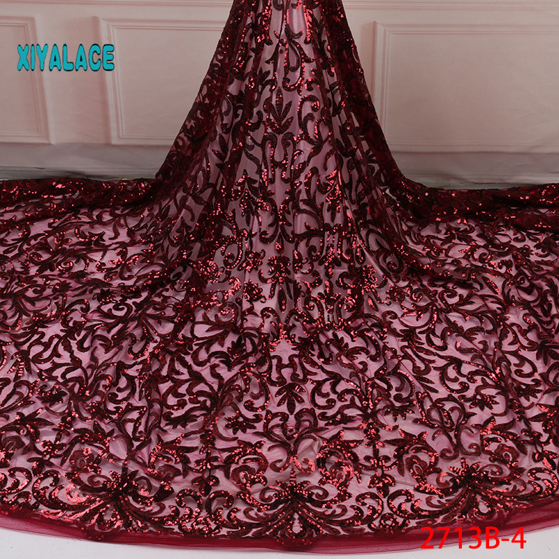 2019 High Quality African Lace Fabric French Lace Fabric For Dress Latest Nigerian Tulle Lace With Sequins  YA2713B-4