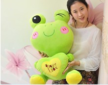 big lovely plush green cartoon frogs toy soft cute frog doll with heart about 70cm