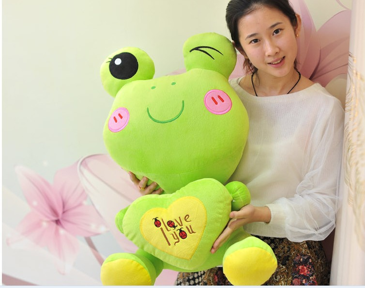 big lovely plush green cartoon frogs toy soft cute frog doll with heart about 70cm 0083 couple frog plush toy frog prince doll toy doll wedding gift ideas children stuffed toy