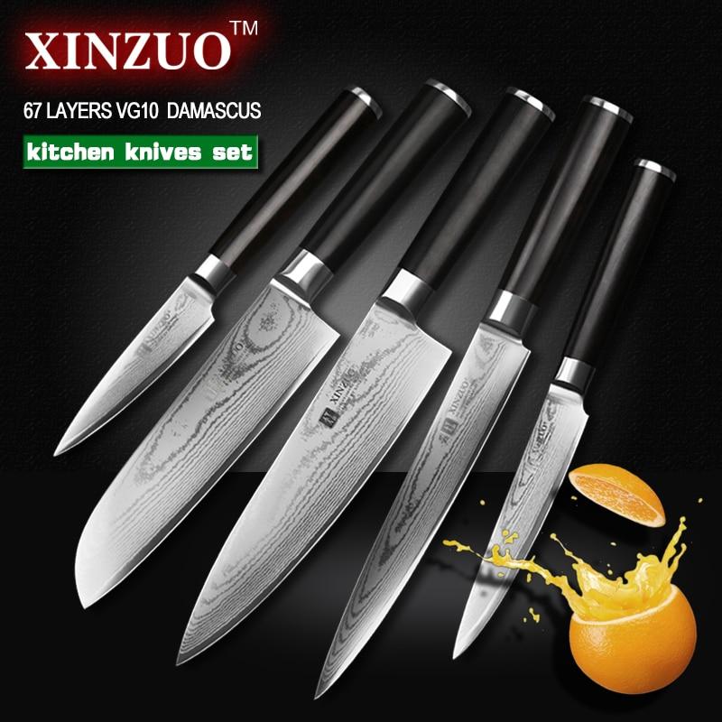 XINZUO 5 pcs kitchen font b knife b font set paring utility cleaver Damascus Chef font