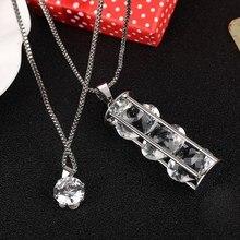 Largo de moda de collar para las mujeres círculo de cristal de cadena chapada en plata Maxi collares y colgantes declaración Joyeria Accesorios