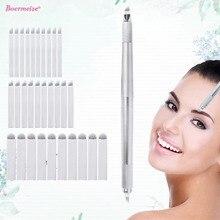 الحاجب Microblading عدة الوشم دليل القلم ثلاثة رئيس 30 قطعة الإبر شفرات تجميل دائم الوشم لوازم آلة