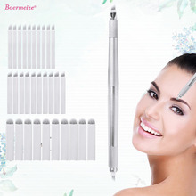 Microblading Eyebrow Tattoo Manual Penสามหัว30Pcsเข็มถาวรแต่งหน้าใบมีดอุปกรณ์สักเครื่องอุปกรณ์