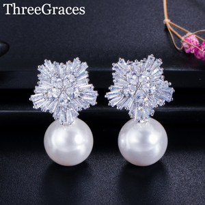 ThreeGraces Famous Designer Jewelry Sparkling Snow Flower Cubic Zirconia Crystal Setting Big Pearl Stud Earrings for Women ER020