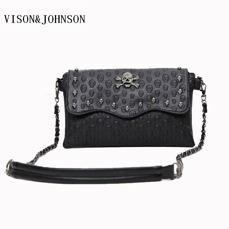 VISON&JOHNSON 2017 Vintage Clutch Skull Bags Women Rivet Mini Fashion Messenger Bags Crossbody Envelope Ladies Punk Shoulder Bag new punk fashion metal tassel pu leather folding envelope bag clutch bag ladies shoulder bag purse crossbody messenger bag