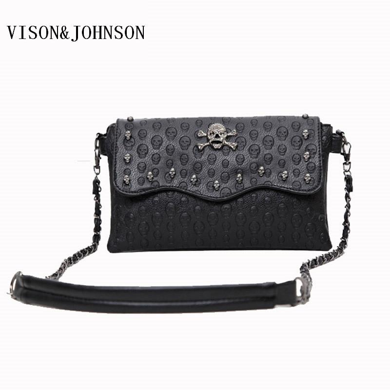 VISON JOHNSON 2017 Vintage Clutch Skull Bags Women Rivet Mini Fashion Messenger Bags Crossbody Envelope Ladies