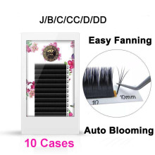 10 Cases Fast Blooming Fanning Volume Mega Auto Easy Grafting False Eyelashes Extension Thick Plant Soft 0.03/0.05/0.07/0.10