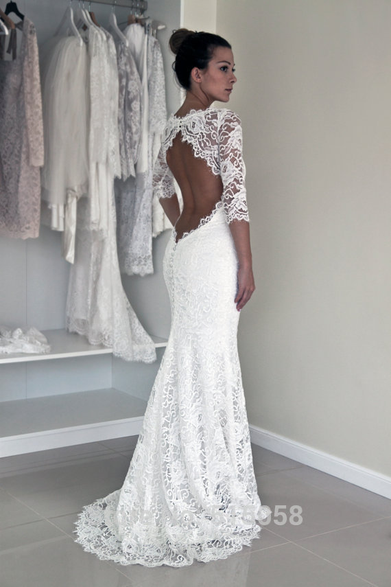Sexy Open Back Lace 3/4 Sleeves Mermaid Wedding Dresses Boho ...