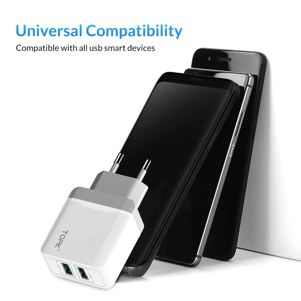 Image 5 - TOPK B244 Быстрая зарядка 3,0 18 Вт USB зарядное устройство для iPhone Xs X 8 7 быстрое зарядное устройство для Samsung Xiaomi Huawei настенное зарядное устройство EU-in Зарядные устройства from Мобильные телефоны и телекоммуникации