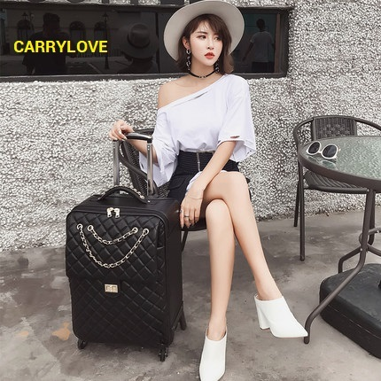 CARRYLOVE High quality  fashion noble luggage 20/24 size  PU Rolling Luggage Spinner brand Travel Suitcase
