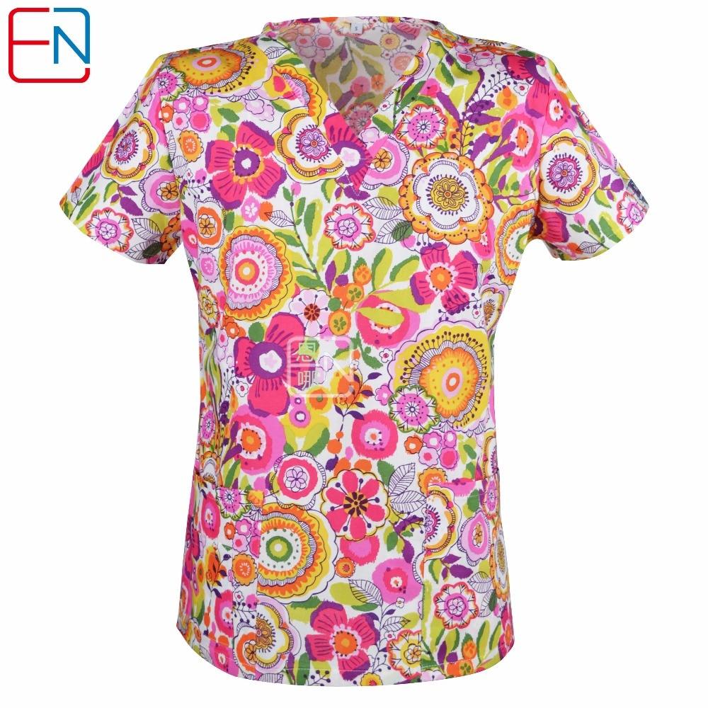 17 DESGINS IN medical scrub tops for women surgical scrubs,scrub uniform in 100% print cotton HENNAR BRAND ...
