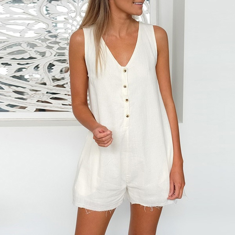 Summer Straight Button Shorts Playsuit Women V-Neck Rompers Shorts Fashion Women Casual Sleeveless Button Tank Top Playsuit(China)