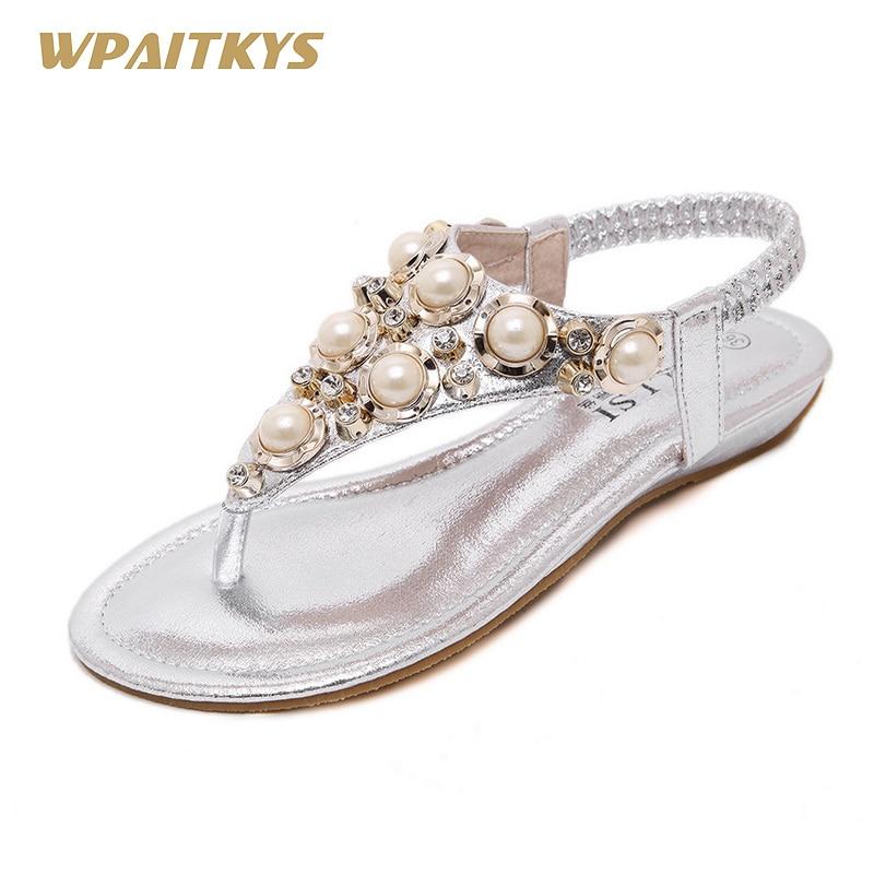 2018 zlato črno srebrno tri barve neobvezno ženske sandale obutev s - Ženski čevlji