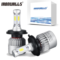 Ironwalls S2 COB 72W H4 H7 H11 H1 H3 9006 Car Led Headlight Bulbs Auto LED