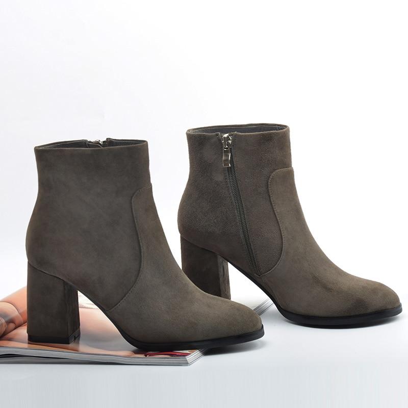 DONNA-IN echt leer Dameslaarzen Natuurlijke suède enkellaarsjes voor - Damesschoenen - Foto 4