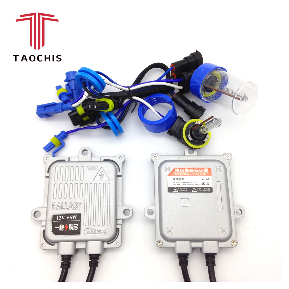 Taochis 55W 12V HID xenon head lamps fog lamp projector lens replacement bulbs H8 H9 H11 fast start ballast ignition block set