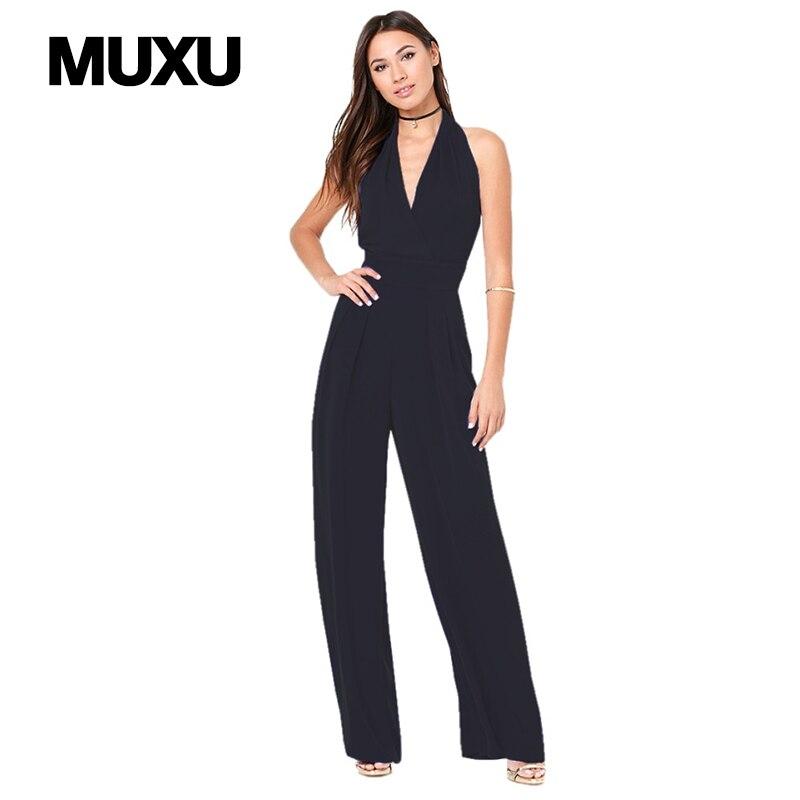 MUXU пикантные женские комбинезоны для женщин Европа и Соединенные Штаты комбинезоны v шеи широкие брюки комбинезон спинки женщины комбинезо...