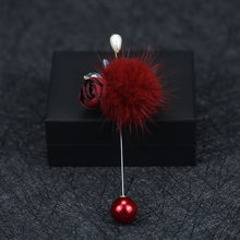 Original Mink Wool Ball Ribbon Flower Cloth Rhinestone Brooches Sweater Overcoat Female Brooch Jewelry Luxury Women Christmas(China)