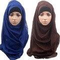 La moda de nueva venda de las mujeres chales hijab bandanas de la bufanda del color sólido de gran tamaño suave bufandas islámicas musulmanes
