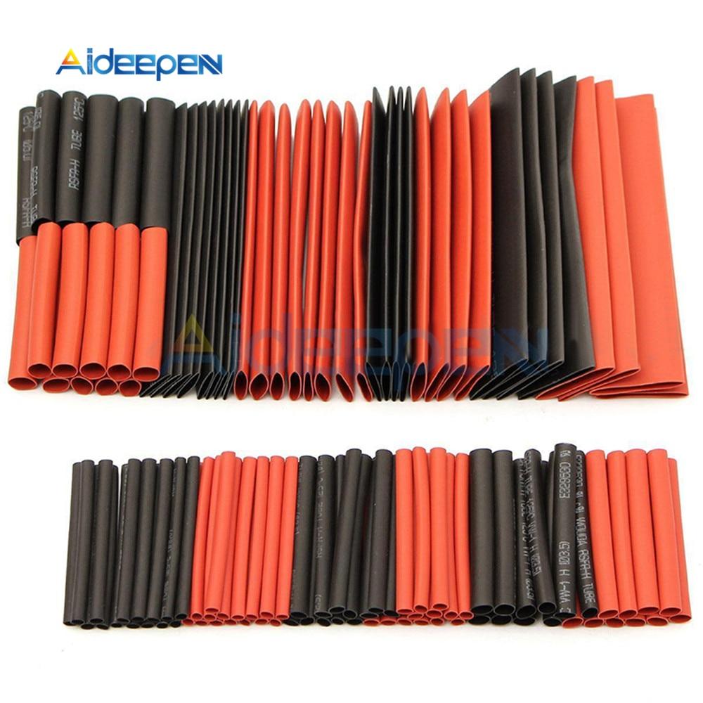 127 pièces rouge noir thermorétractable Tube polyoléfine 21 gaine électrique fil gaine de câble isolation rétractable Tube assortiment Kit