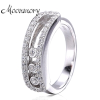 2017 France Popular 925 Sterling Silver Ring With Can Moved Zirconia Fit For Women Wedding Engagement