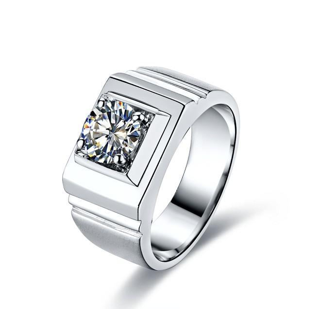 New Style Awesome Men Ring 585 White Gold 1ct Synthetic Diamonds
