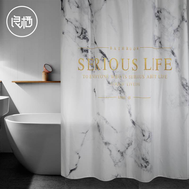 LIANG QI Nordic style polyester bathroom waterproof mildew shower curtain with frosted plastic hook hole