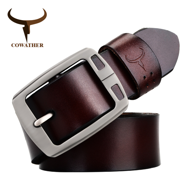COWATHER 100% hommes de vache en cuir véritable sangle mâle boucle ardillon  mode réglable noir 6aa71fb32e4