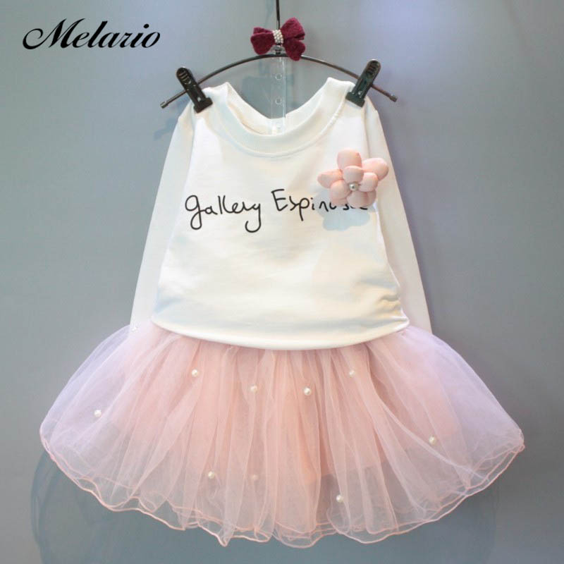 Girls Dresses 2019 New lovely girls white tee shirt and pink dress with rhinestone clothes set kids autumn children clothing set