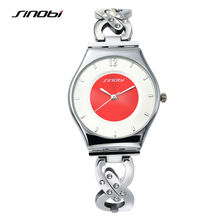 SINOBI 2016 Silver Women Watches Luxury High Quality Water Resistant Montre Femme Stainless Steel Dress Woman Wrist Watches G60