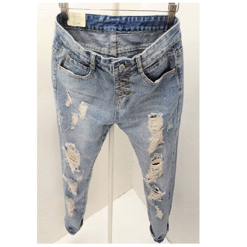 Womens fashion broken hole distressed jeans trousers mid waist ankle-length retro vintage denim pencil harem pants for women 2017 fashion women jeans retro style floral embroidery ripped hole denim pencil pants vintage mid waist ankle length trousers