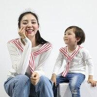 Familie Passender Kleidung T-shirt Herbst MOM BABY Navy Wind Gestreiften Kragen Langarm T-Shirt kinder Kleidung Großhandel