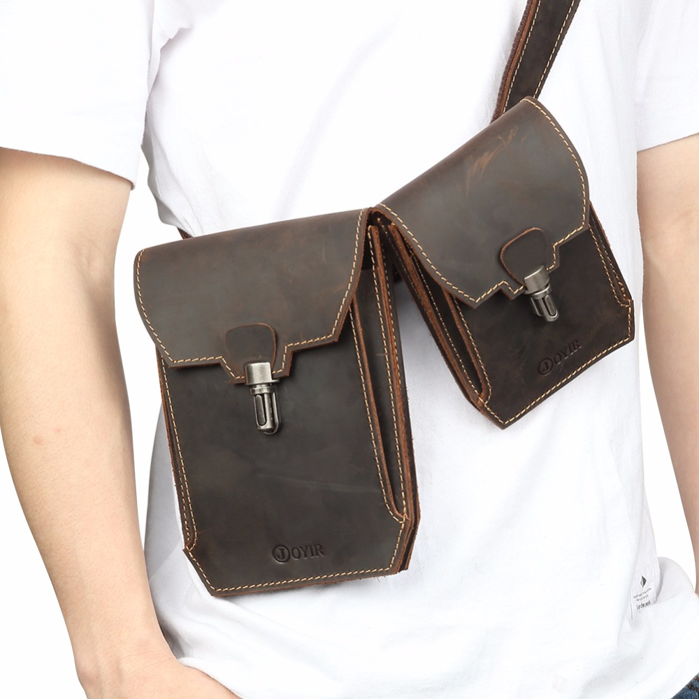 JOYIR 2018 Summer Bag Men Chest Pack Casual Crazy Horse Leather Crossbody Double Waist Packs Bags Travel Male Vintage