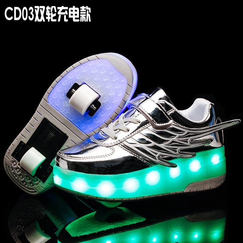 SILVER Two Wheels Luminous Sneakers USB Charging Led Light Roller Skate Shoes For Children Kids Shoes Boys Girls Shoes Light Up