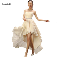 Suosikki Best Sale 2017 Crystal Sashes Sleeveless Pleat Chiffon Short Front Long Back Bandage Evening Dresses