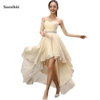 Best Sale 2015 Crystal Sashes Sleeveless Pleat Chiffon Short Front Long Back Bandage Evening Dresses