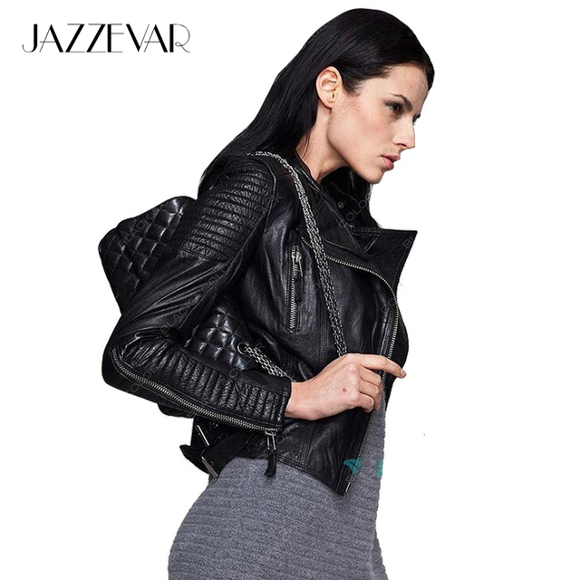 4ec6e20f897 Genuine Leather JAZZEVAR autumn high Fashion street brand style Women real  Leather Short Motorcycle Jacket Outerwear top quality